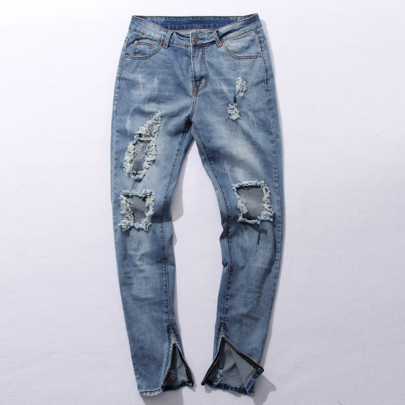 New Hi-Street Men's Blue Ripped Jeans Men Plus Size 30-36 Fashion Male Distressed Skinny Jeans Destroyed Denim Jeans Pants(China (Mainland))