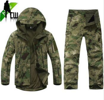 Tad v 4.0 Shark skin soft shell lurkers outdoors tactical military fleece jacket+ uniform pants suits Camouflage hunting clothes