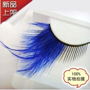 Style party masquerade feather blue gem false eyelashes lips lengthen y148