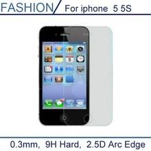 0.3 мм премиум закаленное стекло для iPhone 5S 9 H жесткий 2.5D дуги края протектор высокий прозрачный экран с чистые инструменты