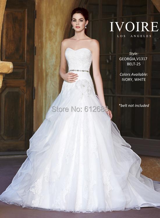 2015 Fashion Georgia Style Wedding Dress Strapless Lace Appliques Beading Sash Organza Chapel Train Long vestido de noiva 2015(China (Mainland))