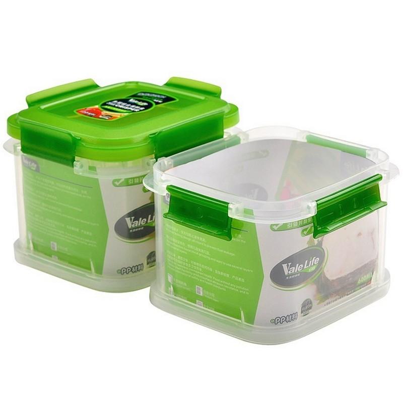 Plastic Kitchen Refrigerator Crisper Food Two Layers Coldbox Multipurpose Storage Box Transparent Sealed Container 600ml X 2(China (Mainland))