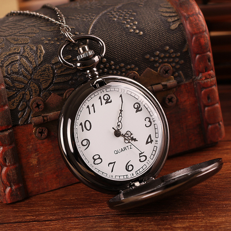 45X45MM Big Size Black Polish Pocket Watch Antique Necklace Watches Men Quartz relojes mujer - ShenZhen OKE Trade Co.,LTD store