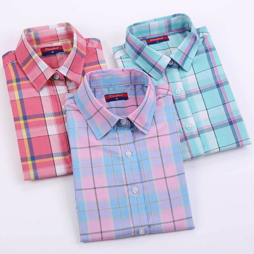 brand new arrival cotton plaid shirt women long sleeve