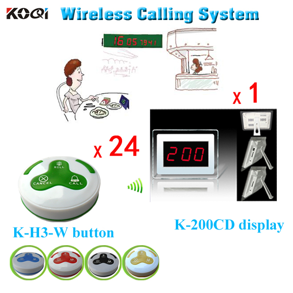 Free Shipping Restaurant Table Calling Button System Newest Catering Equipments( 1 Display Receiver + 24pcs Call Buzzer)(China (Mainland))