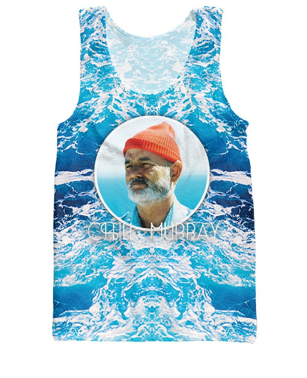 RuiYi Summer Style Bill Murray in this Chill Murray Tank Top The Life Aquatic with Steve Zissou 3d Basketball Vest Jersey Women(China (Mainland))