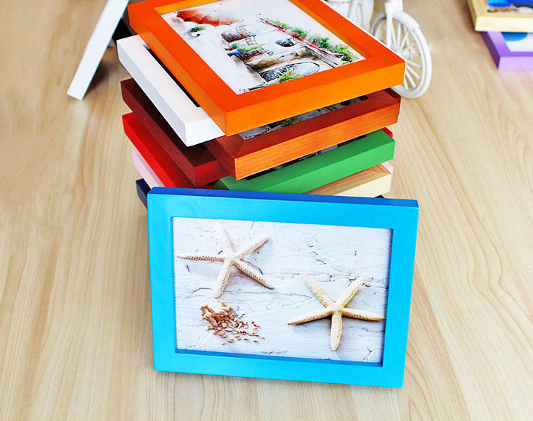 Wholesale 7 inch colorful wooden photo frame for picture for Craft picture frames bulk