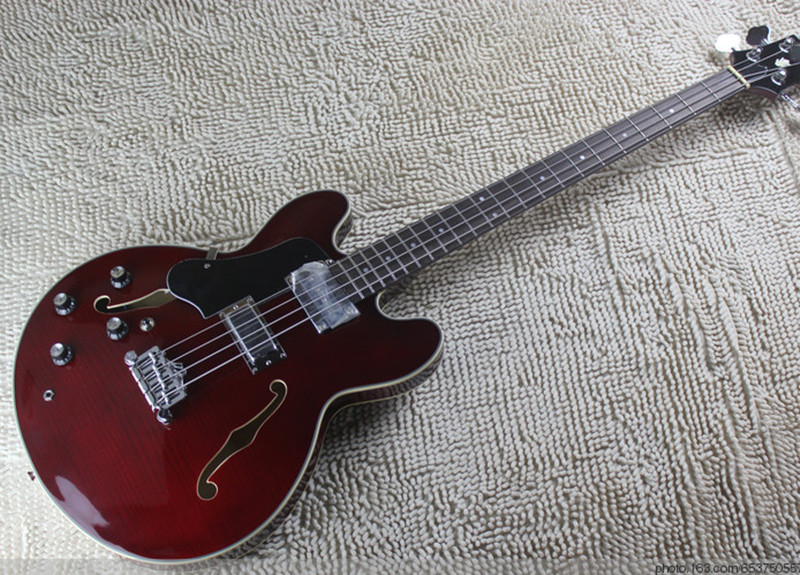 Factory custom claret-red left-hand electric bass guitar with flame maple veneer,chrome hardware,black pickguard,can be changed(China (Mainland))
