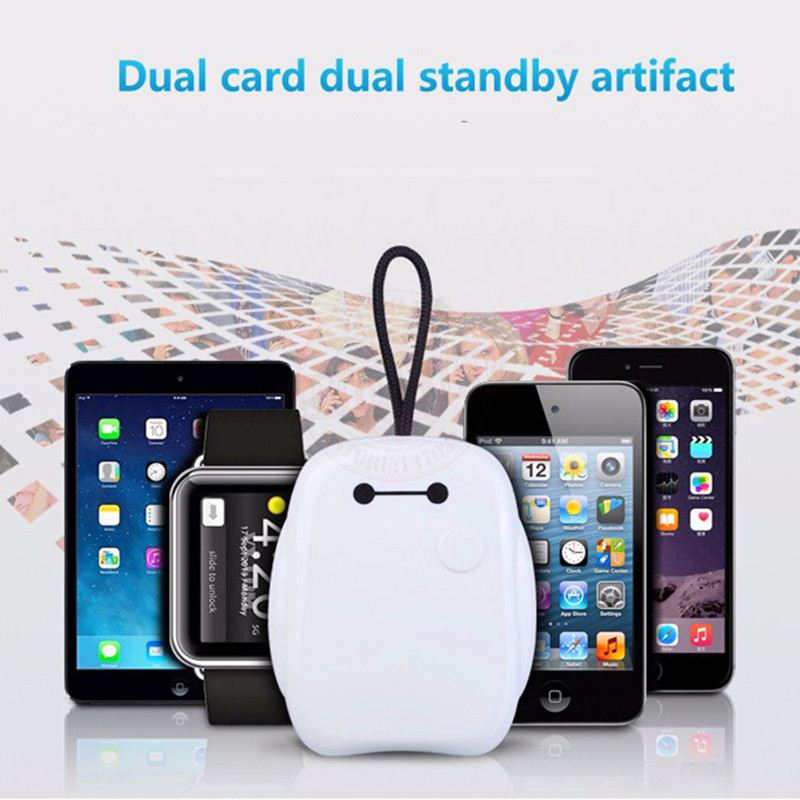 iMeaning Bluetooth Dual SIM Adapter for iPhone Portable Mate One Phone Two Sim Cards Dual SIM Cards Double Adapter Bluetooth 4.0(China (Mainland))