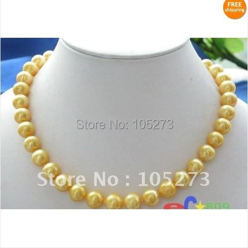 Charming!Fashion Jewelry 18inchs Genuine Freshwater Pearl Necklace AA 9-10MM Golden Pearl Necklace Free Shipping FN213<br><br>Aliexpress