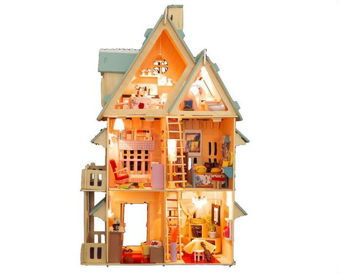 13004 Diy Doll Home With Furnishings Handmade Mannequin Constructing Kits 3D villa Miniature Wood Dollhouse Toy Presents
