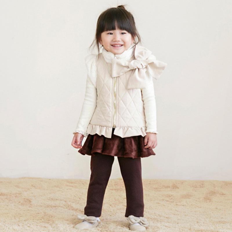 Children Letong 2017 autumn winter buff girl sleeveless vest garment outwear fashion brand WaistCoat 3T-11T free shipping(China (Mainland))