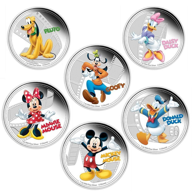 6 pcs/lot (6*1). full set mickey & friends mouse dog duck Hollywood cartoon animal silver plated England Canada coin set(China (Mainland))