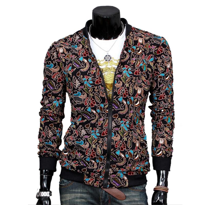 Autumn Patchwork Mens Casual Jackets Korean Version Slim Jacket Flower Pattern Tide Men Clothing Outdoor Travelling Jackets(China (Mainland))