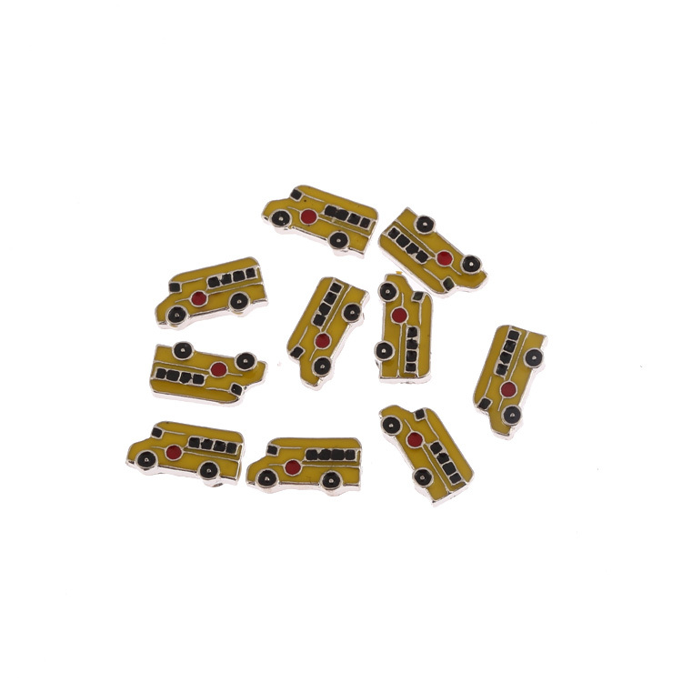 10pcs yellow School Bus Alloy Floating Locket Charms fit living Memory photo Lockets with glass 10*4.5mm(China (Mainland))