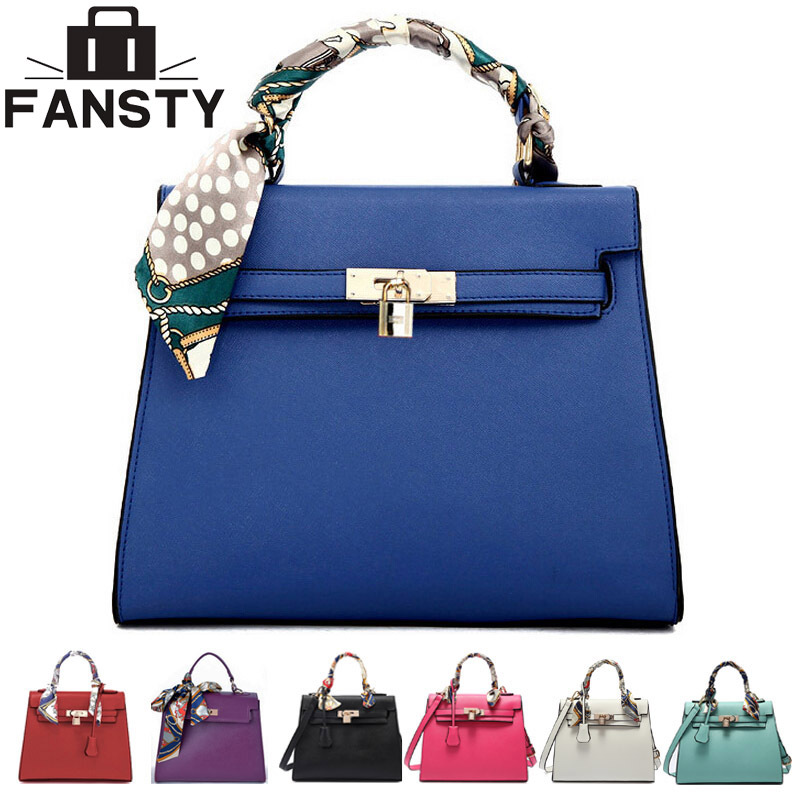Гаджет  2014 new 8 colors purple blue lady tote small shoulder bag solid woman brand handbag leather bag with scarf lock free shipping None Камера и Сумки