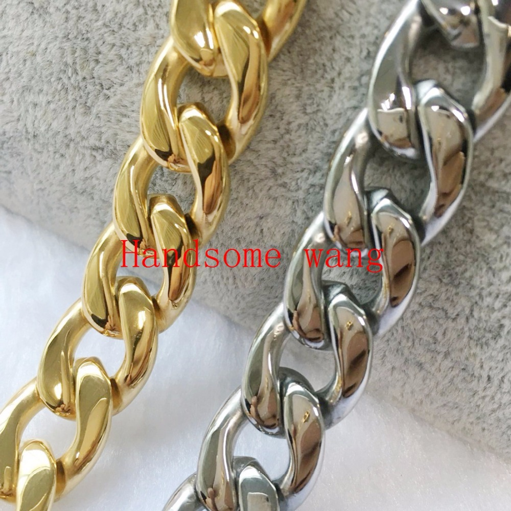 """15MM High Polished Jewelry 316L Stainless Steel Silver 18K Gold Curb Cuban Chain Men's Boy's Necklace Or Bracelet Bangle 7-40""""(China (Mainland))"""