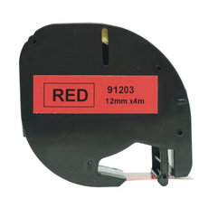 Compatible for dymo LetraTag plastic Tape 12mm*4m 91203 black on red Label Tape dymo printer label maker typewriter ribbon