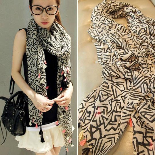 2016 мода хлопок шарф женщины корейской версии геометрические узоры зима шарфы платки