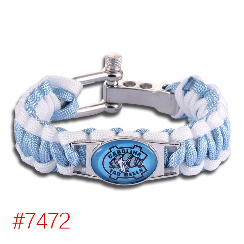 North Carolina Tar Heels Custom Paracord Bracelet NCAA College Football Charm Bracelet Survival Bracelet,Drop Shipping!6Pcs/lot!(China (Mainland))