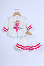 2015 new arrive spring&summer children's clothing Barbie print T-shirt skirts set fashion adorable twins girl suit(China (Mainland))