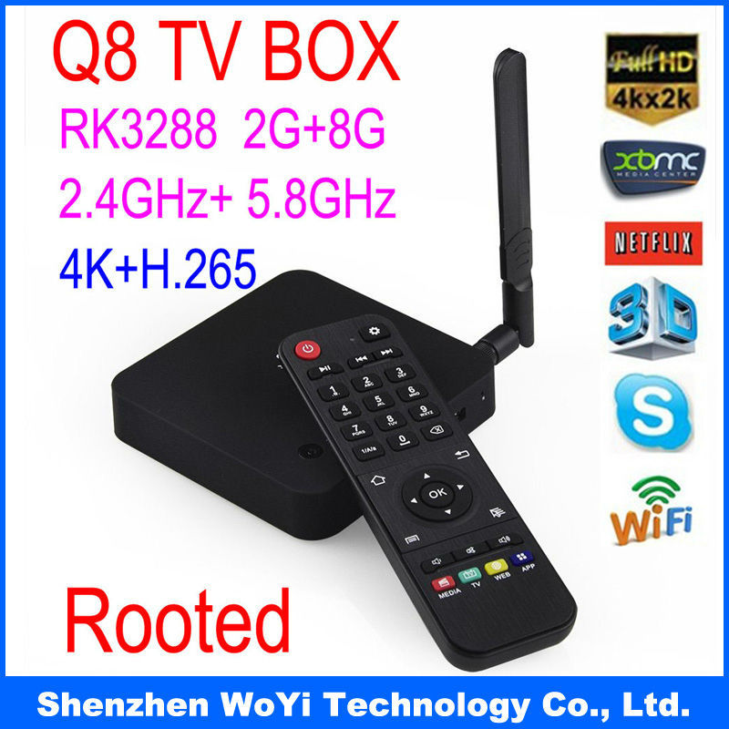 Best price WoYi Q8 Android TV box RK3288 Cortex-A17 Quad Core 1.8Ghz ,2G/8G HDMI Media Player Antenna 2.4G+5G Dual band - Shenzhen Technology Co., Ltd. store