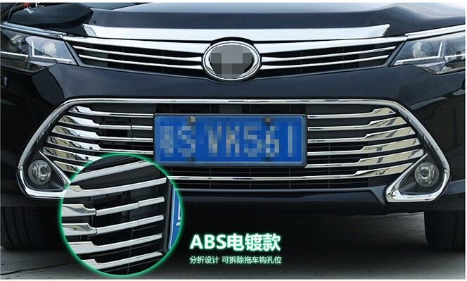 ABS Chrome 1Front upper +bottom Grill Grille protector cover TOYOTA Camry 2015 - high flying trade store