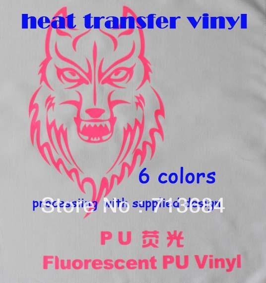 fluorescent PU vinyl Heat Transfer Vinyl Design Logo Custom For Iron ON Heat Press Print T-shirt(China (Mainland))