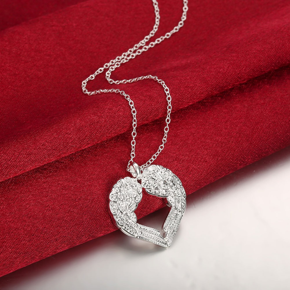 Hot Sale New Fashion Silver-Plated Necklaces Pendants Angel Heart Wings Big Necklaces for Women Charm Bridal Wedding Jewelry(China (Mainland))