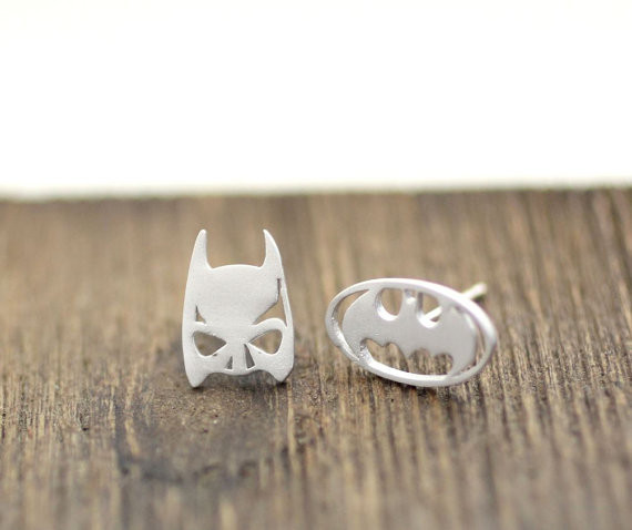Themed Jewelry Vintage Super Heroes Batman Mask Stud Earrings Stainless Steel Gold Silver Rose Gold Accessories <br><br>Aliexpress