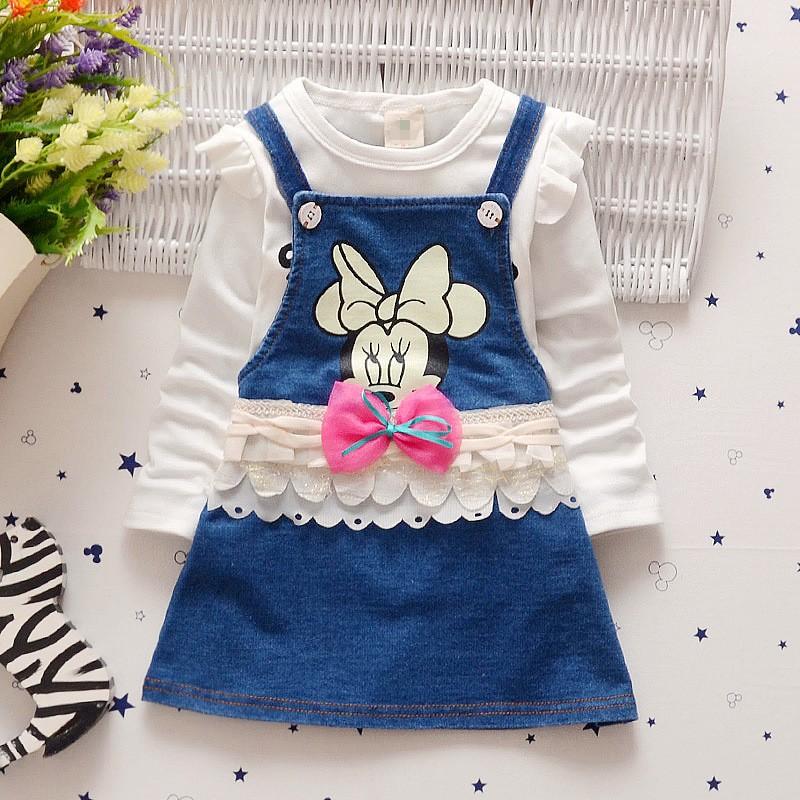 Spring autumn baby girls clothing set children tops cartoon minnie mouse strap dress girls sport suit set kids tracksuit set(China (Mainland))