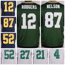 best quality,Mens Aaron 18 Randall 21 Ha Ha 27 Eddie 52 Clay 87 Jordy jerseys(China (Mainland))