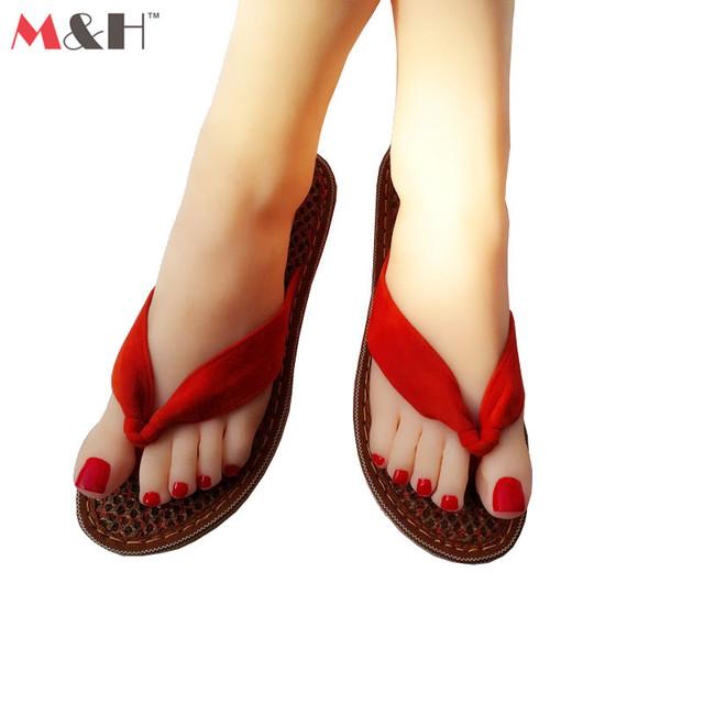 M и H марка пальмового волокна ручной 2016 пляж Sandalias женщин флип-флоп летние ...