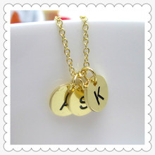 Women Fashion letter necklace, THREE Initials GOLD Necklace Customize Monogram Necklace, initial letter necklace(China (Mainland))