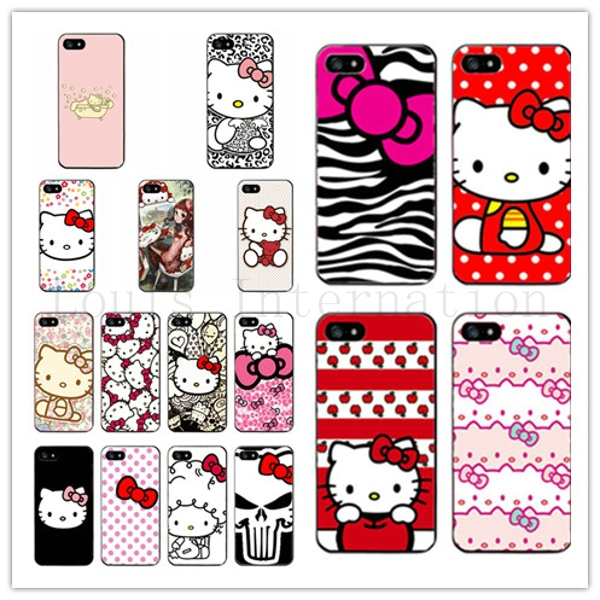 Hello Kitty Design Plastic Cases For iPhone 5 iPhone 5S Case For iPhone5 for iPhone5S 5G Cover Phone Shell Skin PC Thin Covers(China (Mainland))