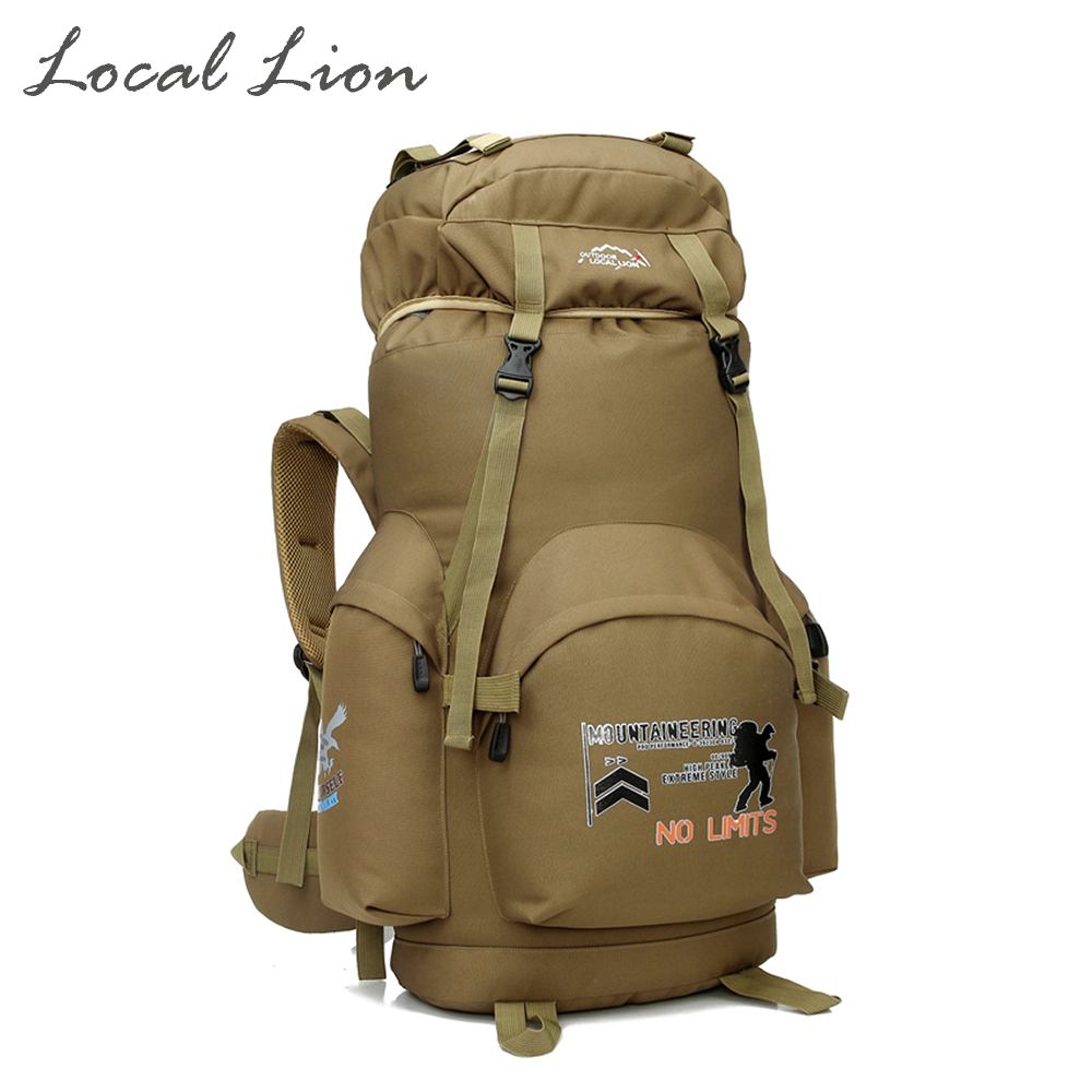 Local Lion 70L Large Capacity Waterproof Outdoor Camping Hiking Mens Backpacks Mountaineering Travel School Sports Rucksack<br><br>Aliexpress