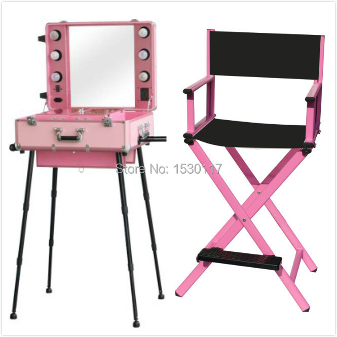 2 pcs makeup set Makeup Artist Station Rolling Makeup Case with Lights Mirror Legs with makeup Chairs hairdressing salon chair(China (Mainland))
