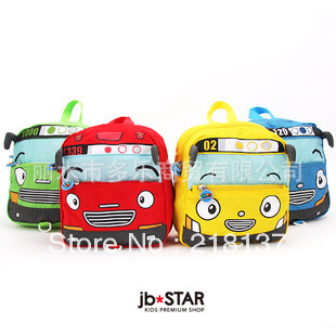Free Shipping 2013 New Arrival Tayo Cartoon Little Bus Design Boy/Girl Kids Backpack/ School Bag Assorted 4 colors,child's gift(China (Mainland))