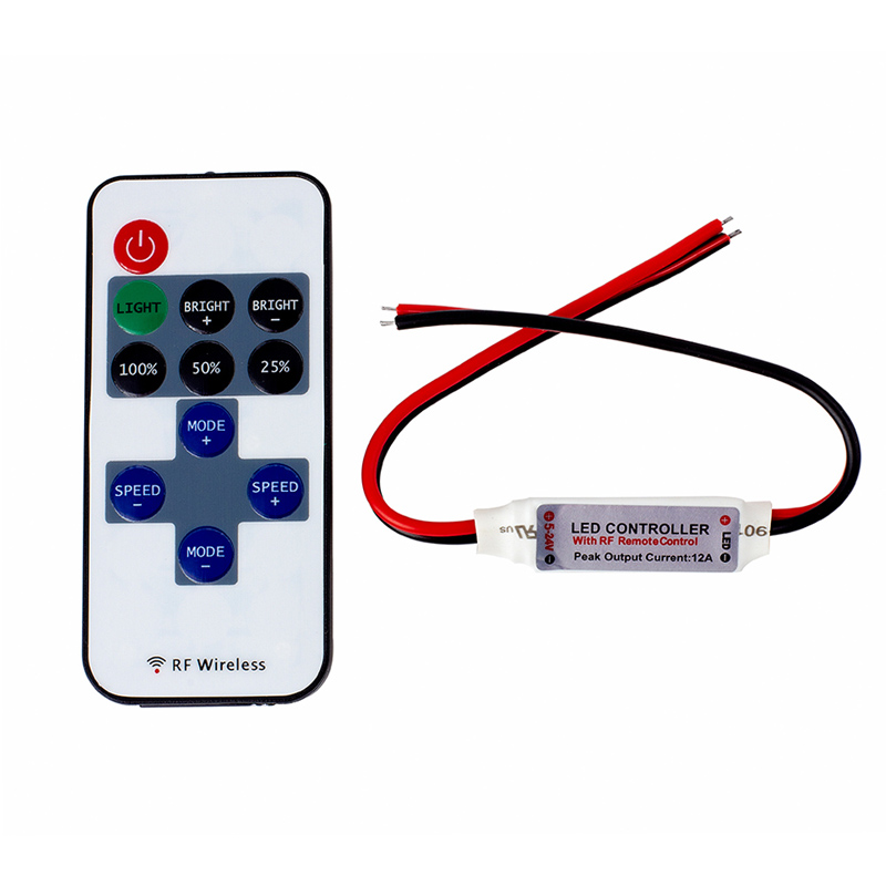 EPBOWPT 11 Keys Buttons DC 5V-24V 3CH 12A Mini LED Controller RF Wireless Remote Control Dimmer for Single Color LED Strip Light(China (Mainland))
