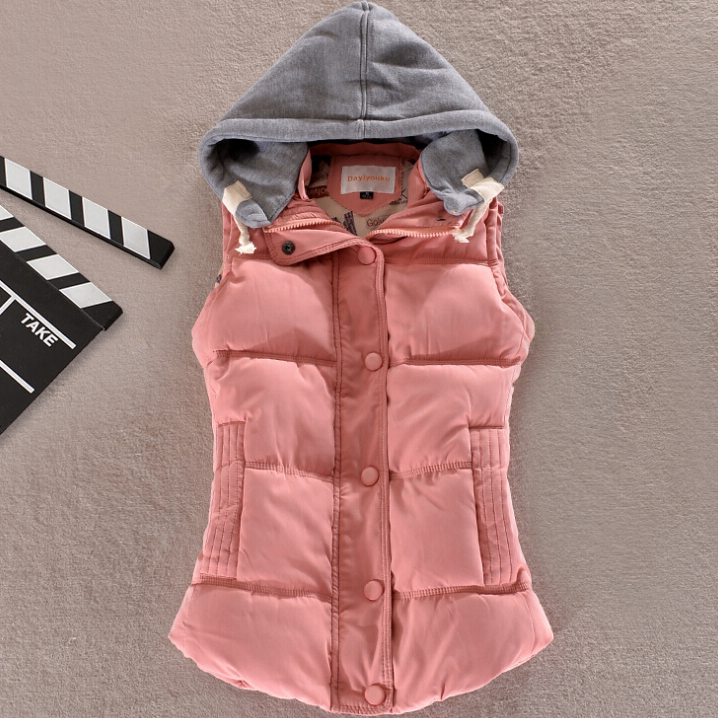 women's cotton wool collar hooded down vest Free shipping Hot high quality Brand New female winter warm Jacket&Outerwear(China (Mainland))