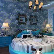 Fluorescent blue sky cloud children baby room non-woven vinyl wallpaper roll luminous kids room ceiling baby room wall paper(China (Mainland))