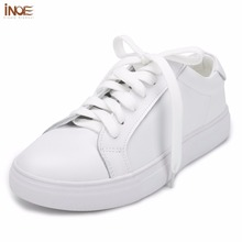 INOE 2017 fashion style spring casual shoes for men genuine cow leather flats shoes high quality white loafers driving car shoes(China (Mainland))