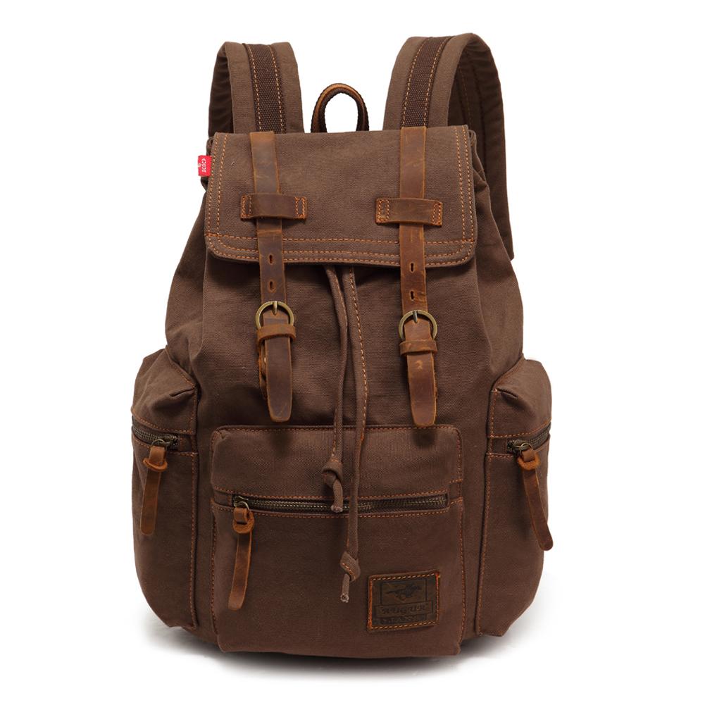 Vintage Men Casual Canvas Leather Backpack Rucksack Bookbag Satchel Hiking Bag HB88