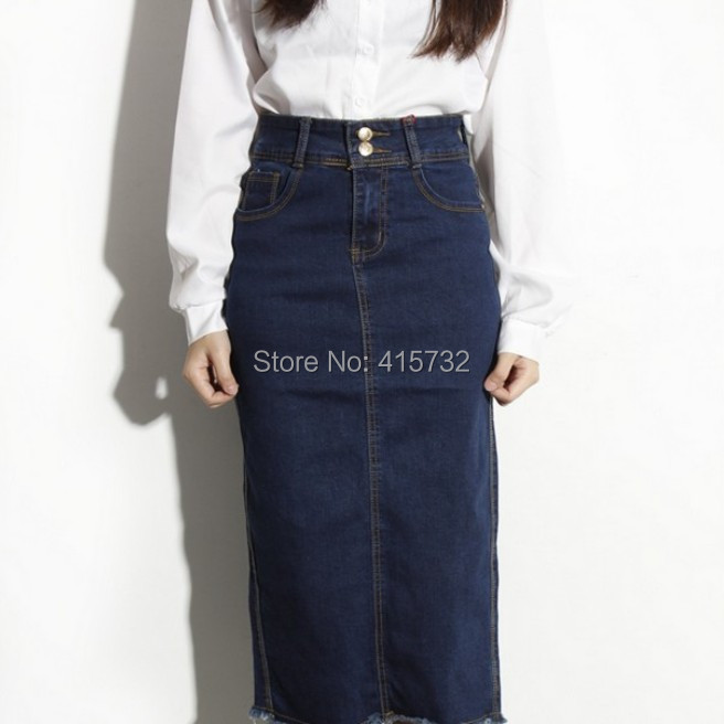 Free Shipping 2015 New Fashion Long Mid-calf Denim Jeans Skirts For Women Pencil European Style Skirt High Waist Blue Slit Skirt(China (Mainland))