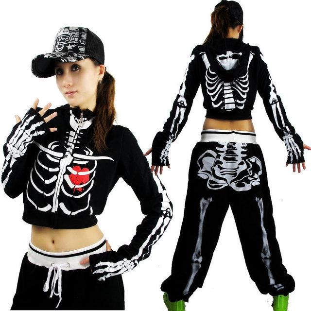 Женщин спортивные хип-хоп танец джаз скелет куртка урожай топ с chaquetas де esqueleto ...