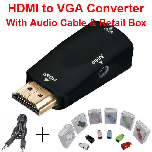 HDMI to VGA with Audio Cable HDMI to VGA Adapter Male To Female 1080p HDMI to VGA Converter For PC/TV/Xbox 360 PS3(China (Mainland))