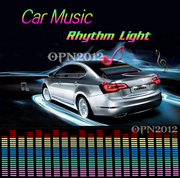90x 25cm Car Sticker Sound Activated Equalizer Glow Flash Panel Multi Colour Light Music Rhythm LED Flash Light Lamp 2296(China (Mainland))