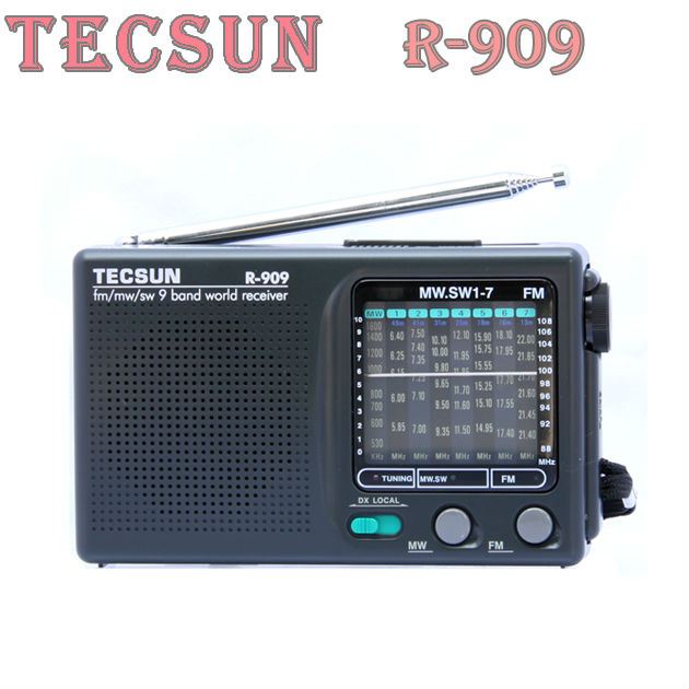 TECSUN R-909 AM/ FM / SM / MW (9 bands) Multi Bands Radio Receiver Broadcast With Built-In Speaker R908 radio(China (Mainland))