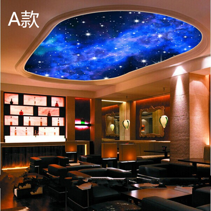 2014 real tapete papel de parede infantil star cosmic for Ceiling mural wallpaper