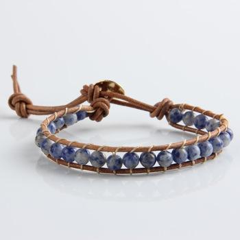 Мода винтажный стиль плетения кожа обертывание очаровывает браслет для женщин природный ...